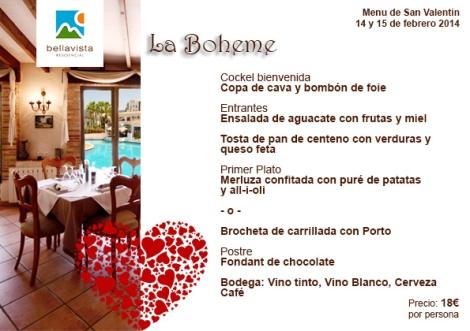 Menú especial de San Valentín 2014 en Restaurante La Boheme Bellavista Residential